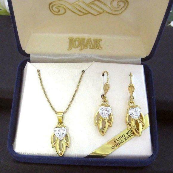 JOJAK Euro Wire CZ heart Earrings & Necklace